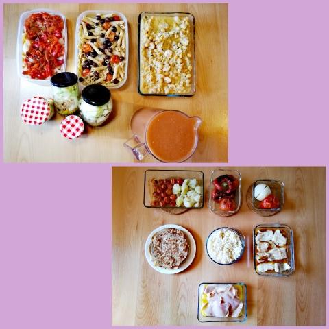 Batch cooking de ensalada, garbanzos con arroz y gambas, gazpacho con manzana, ensalada de pasta con salmón, escalivada, filetes de merluza con salsa de zanahorias, ensalada, pollo marinado al limón y cus cus y tortitas