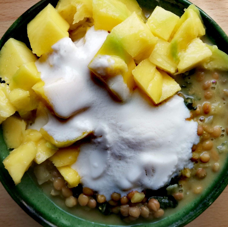 Lentejas al curry con mango