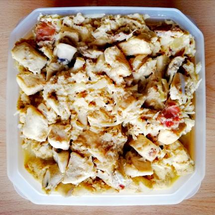 pollo y champiñones en salsa carbonara