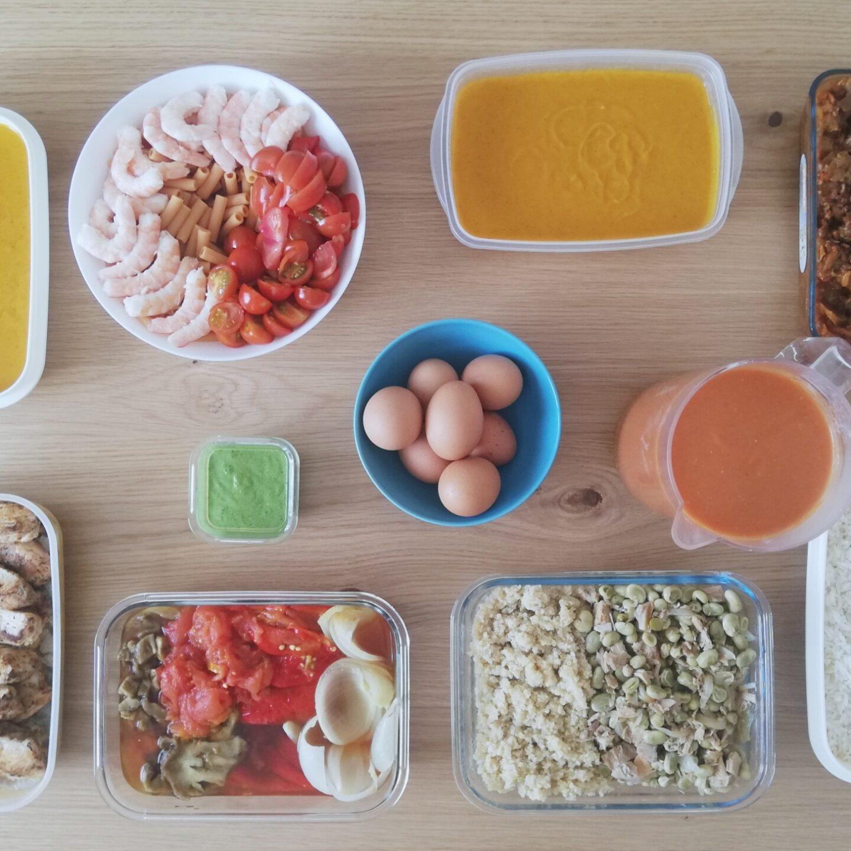 Sesión de batch cooking llena de color